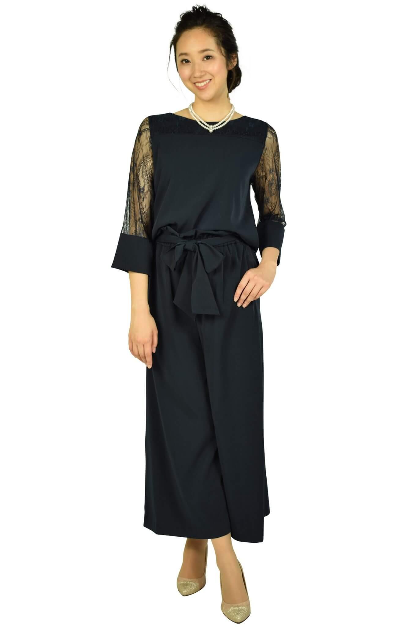 エルモソ (Hermoso)ワイドパンツセットアップネイビードレス