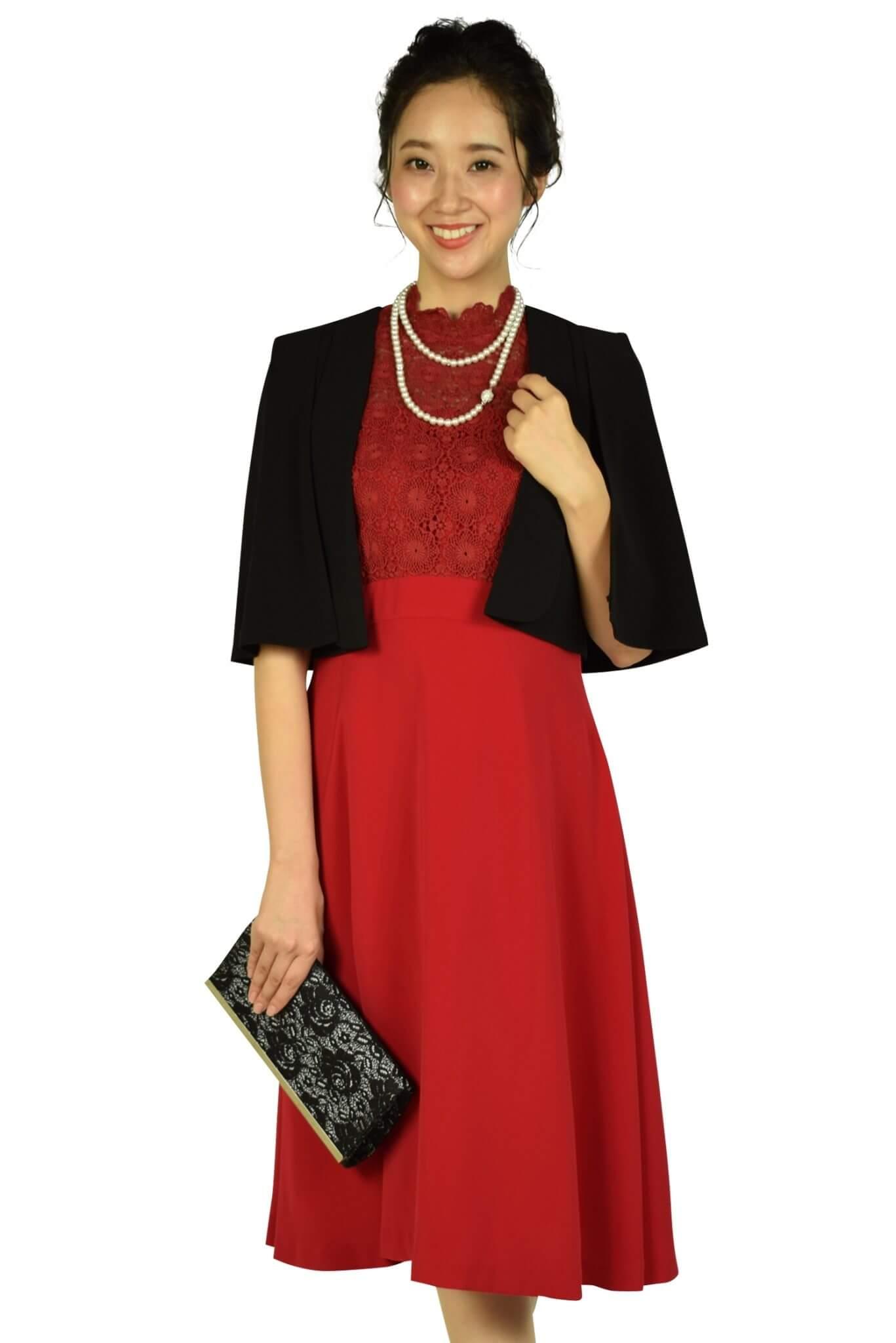 フェテローブ(FeteROBE)フラワーレースレッド系ドレス