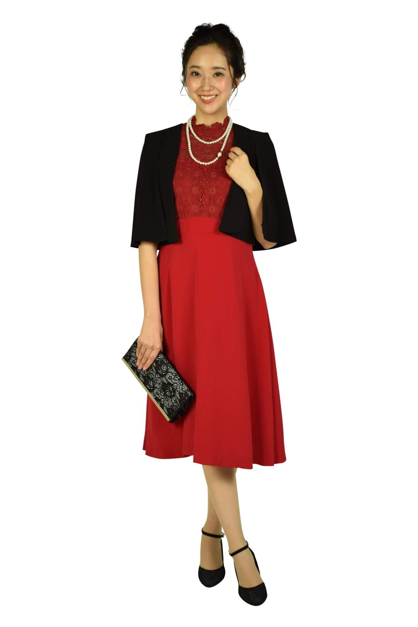 フェテローブ (FeteROBE)フラワーレースレッド系ドレス