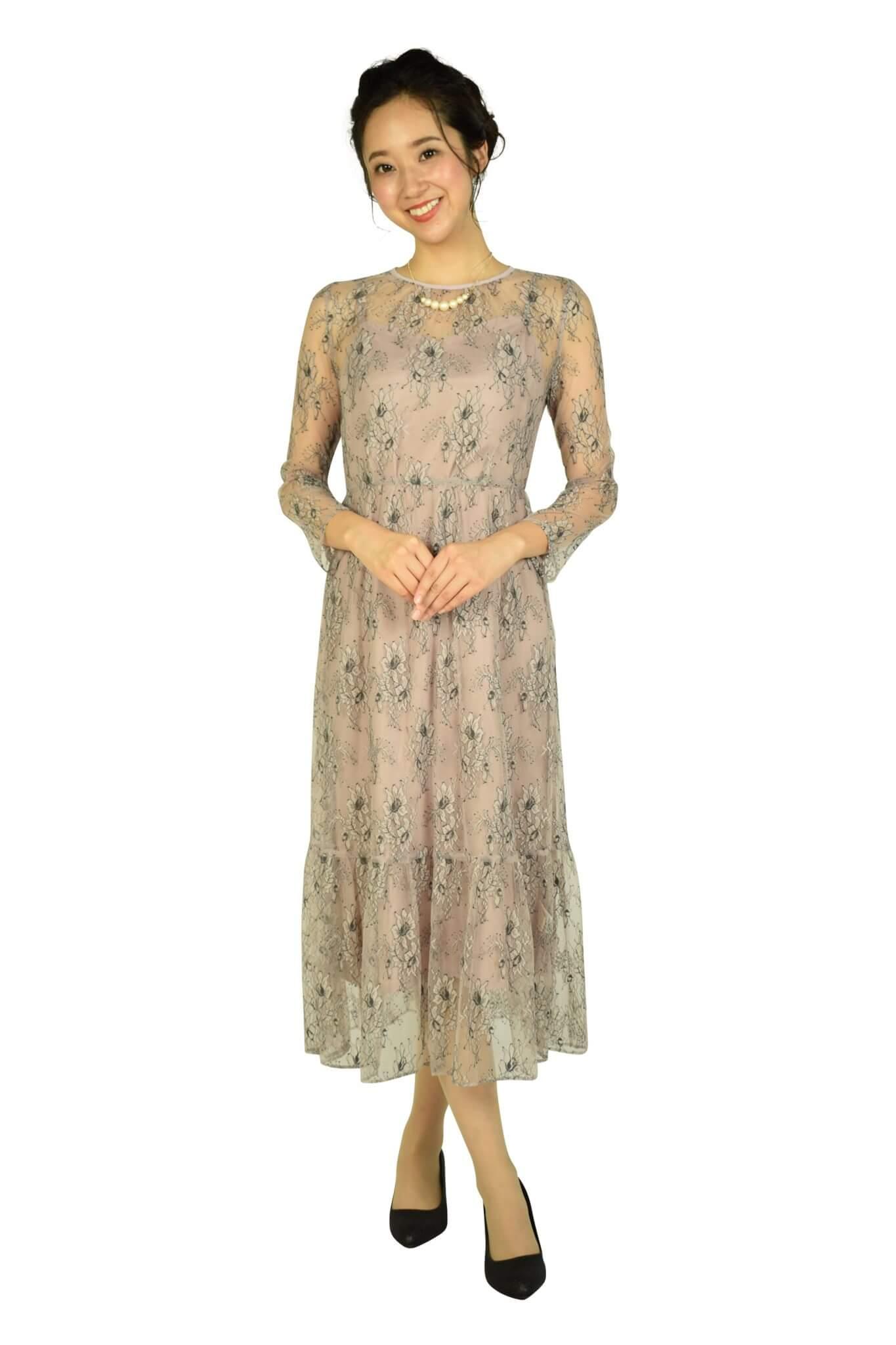 カエン (Kaene)総レースダスティーピンクドレス