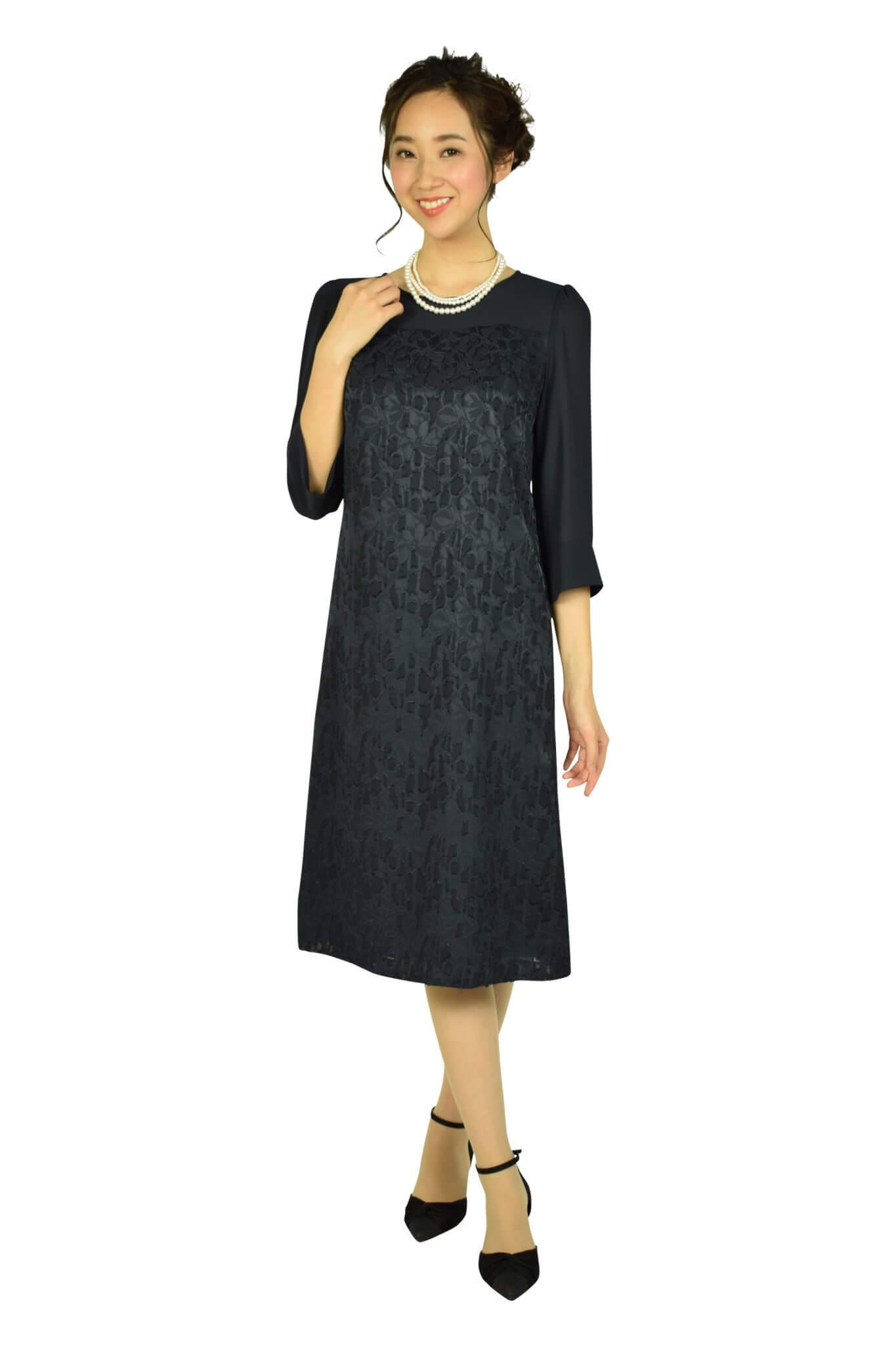 ドレス デコ (DRESS DECO)上品フロッキーフラワーネイビードレス