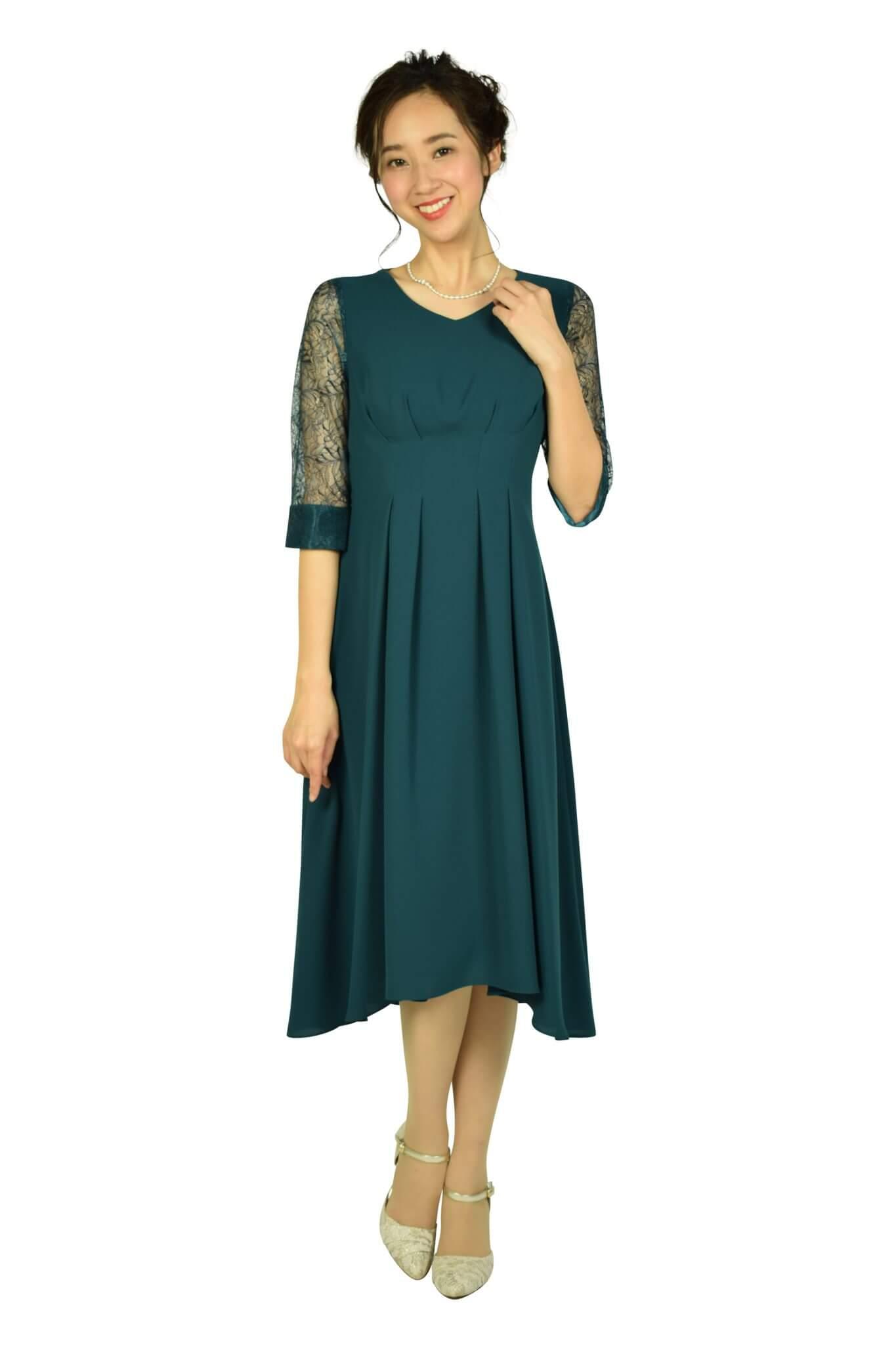 ドレス デコ (DRESS DECO)Vネック袖レースグリーンドレス