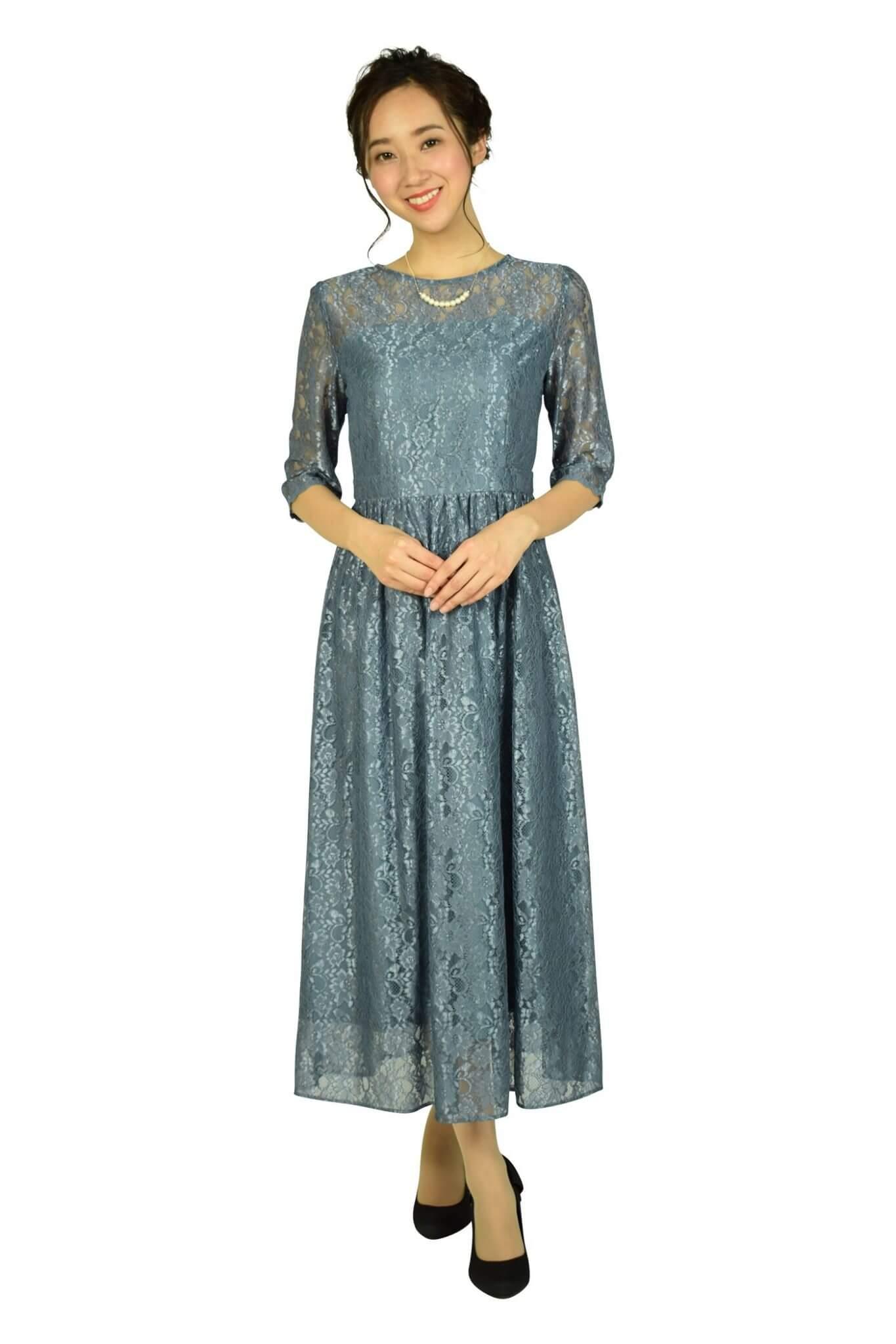 エニィスィス (anySiS)シャイニースモーキーブルーレースドレス