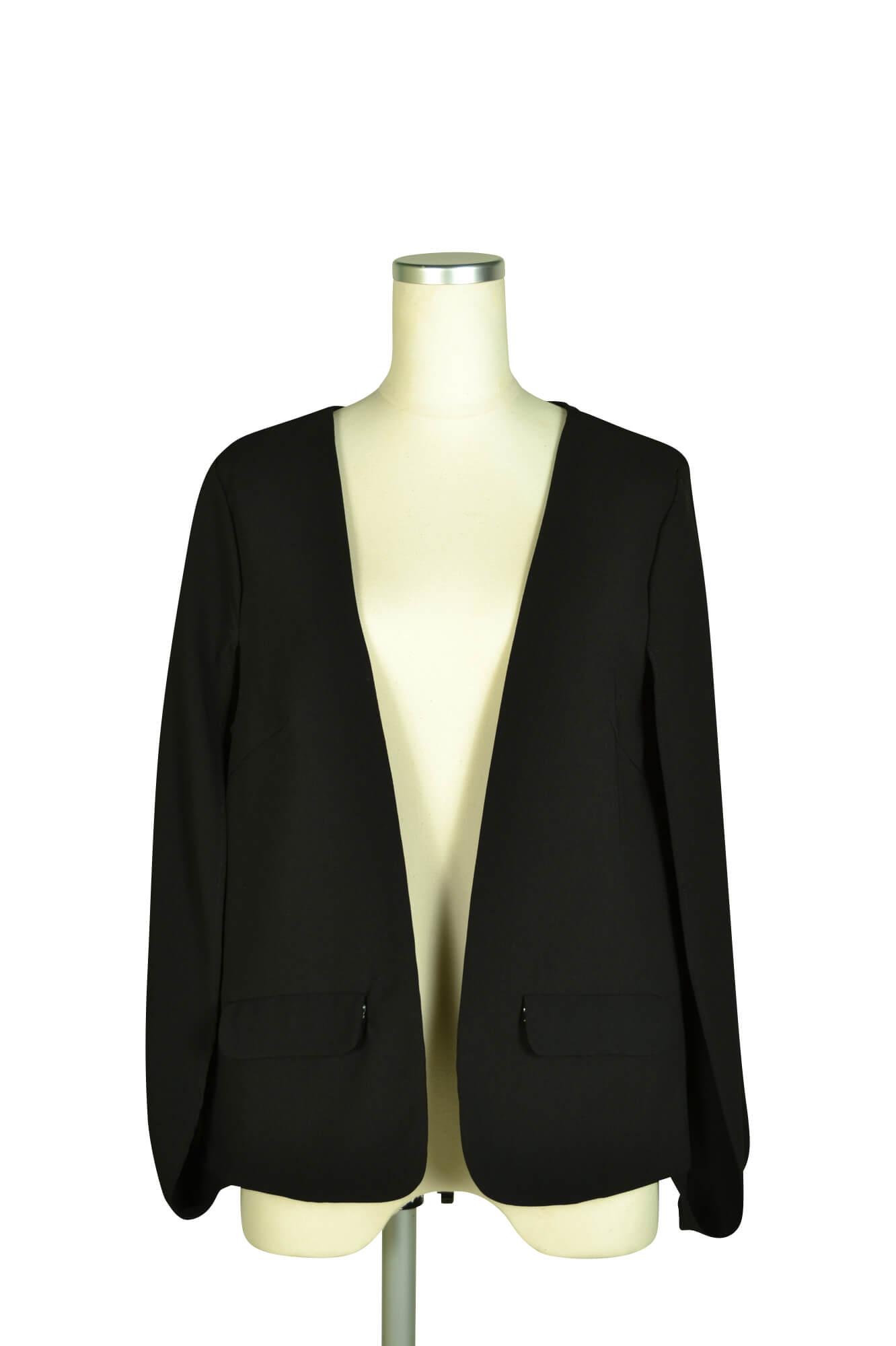 デリセノアール (DELLISE NOIR)ケープ袖ブラックジャケット