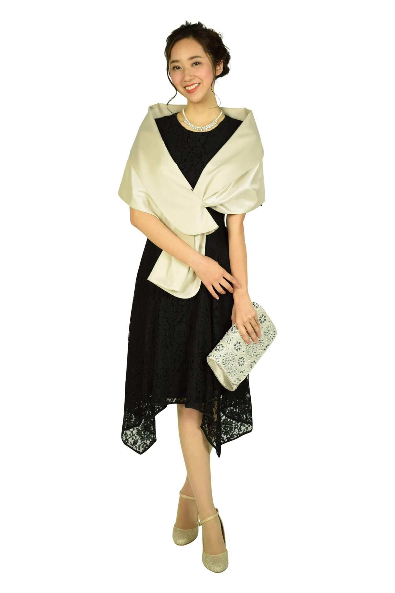 ダナ・キャラン (Donna Karan)イレギュラーヘムレースブラックドレス