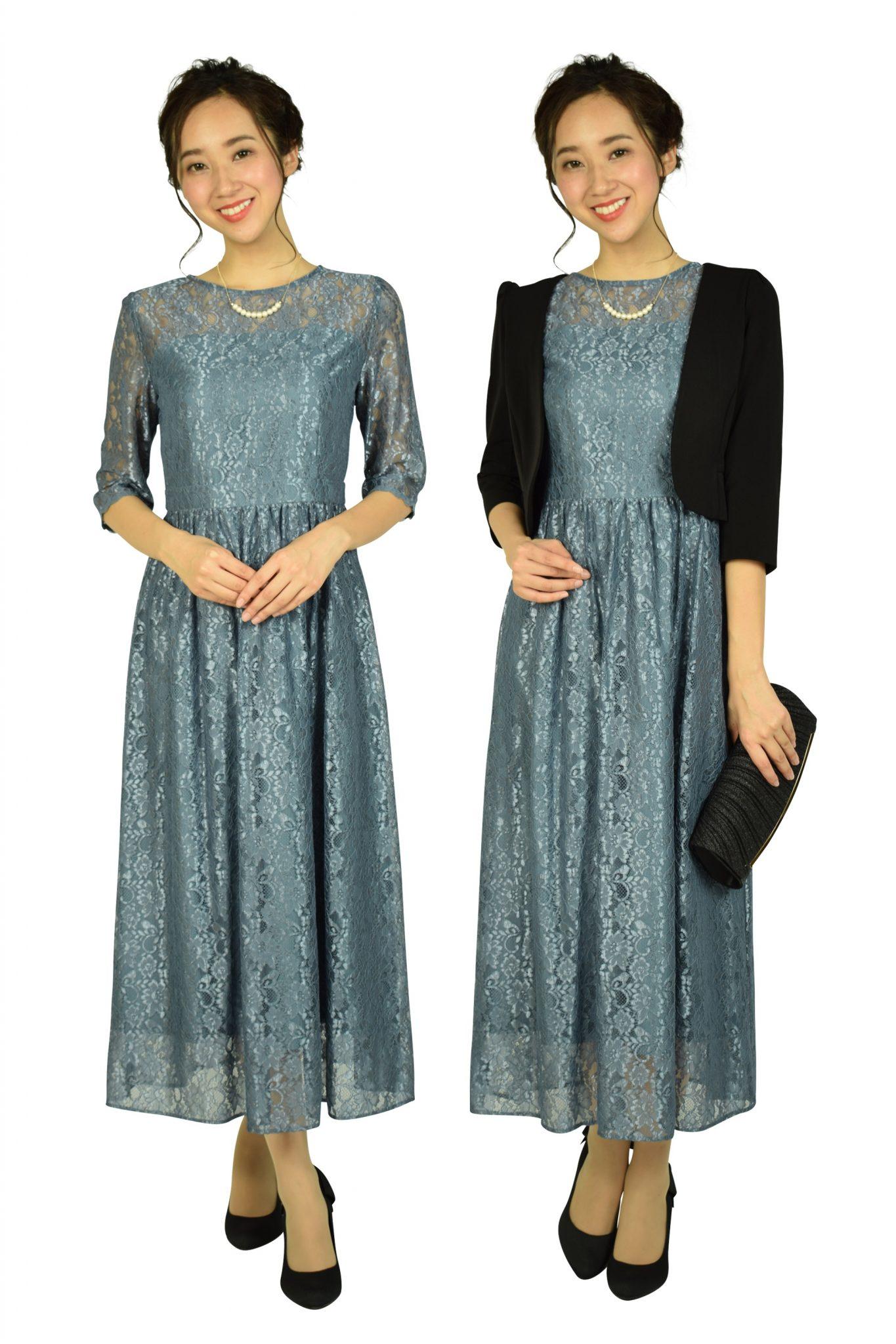 エニィスィス(anySiS) シャイニースモーキーブルーレースドレス