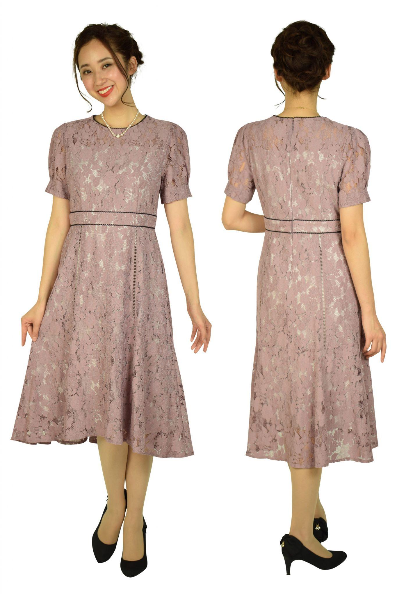 Je superパフスリーブレースピンクドレス